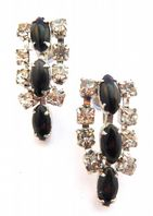Vintage Black And Clear Rhinestone Drop Screw Back 50's Earrings.